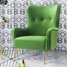 tov furniture tov a157 ethan green velvet wing chair on gold