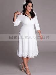 robe de cocktail grande taille pour mariage de soirée grande taille courte blanc col v 3 4 manches fleurs