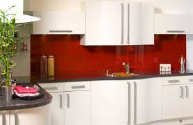 Red Kitchen With White Cabinets Kitchen Fitted With Opticolour Orient Red Glass Splashbacks