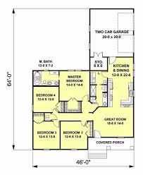 Two Car Garage Floor Plans by Craftsman Style House Plan 4 Beds 2 00 Baths 1612 Sq Ft Plan 44 179