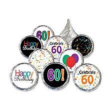 60th birthday party favors 60th birthday party favor stickers multi colored