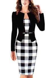 babyonline women colorblock wear to work business party bodycon