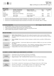 financial modelling resume sample resume fresher