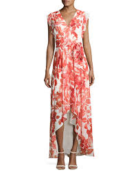 eliza j eliza j floral print high low wrap dress