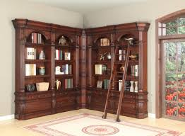 furniture oversized l shaped wood bookcase with ladder and arched