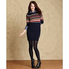 fair isle sweater dress lyst hilfiger sleeve fairisle sweater dress