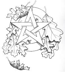 pentacle oak leaf coloring page pagan witch pinterest