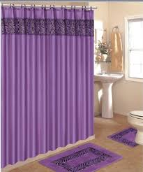 bathroom bathroom rugs with purple curtain and grey ceramic floor