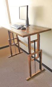 Standing To Sitting Desk Adjustable Hardwood Standing Desk Work Surface Square And