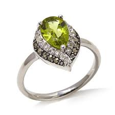 pear shaped ring black marcasite peridot and white topaz pear shaped sterling