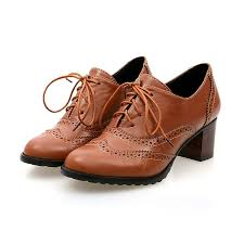 vintage womens boots size 11 brogue shoe womens lace up mid heel wingtip oxfords