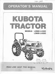 kubota l2900 l3300 l3600 l4200 owners manual pdf