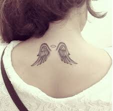 tattoo angel wings on neck angel wing tattoo on back of neck creativefan