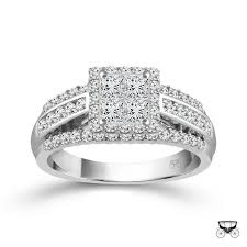 10k wedding ring 10k white gold 1cttw invisible set princess cut halo