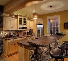majestic rustic kitchen island lighting with natural stone for