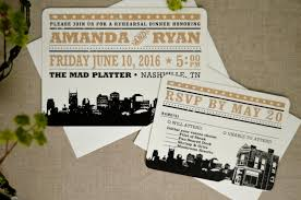 wedding rehearsal invitations black and gold nashville tennessee skyline with east nashville