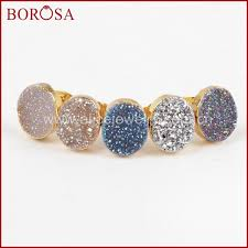 druzy stud earrings borosa fashion druzy stud earrings wholesale oval gold color