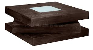 Designer Coffee Tables by Chocolate Finish Square Shape Modern Coffee Table W Glass Inlay