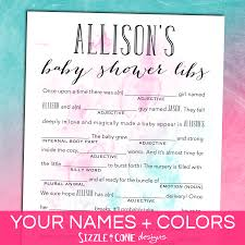 baby mad libs watercolor baby shower mad lib personalized printable