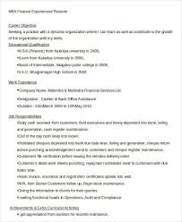 Mba Finance Experience Resume Samples by Finance Resumes Download 24 Free Word Pdf Documents Download