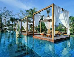 Pool Cabana Designs Best Swimming Pool Design With Floating Cabanas And Garden Artenzo