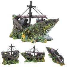 resin home aquarium ornament wreck sunk ship aquarium ornament