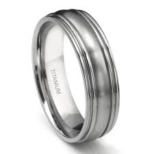 titanium wedding bands for men titanium 7mm ribbed men s wedding ring
