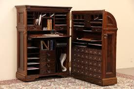 Antique Curio Cabinet With Desk Sold Secretaries Harp Gallery Antiques