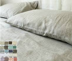 linen bed sheets set white grey cream pink blue stripe