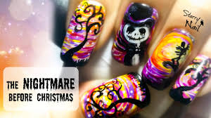 the nightmare before christmas freehand halloween nail art