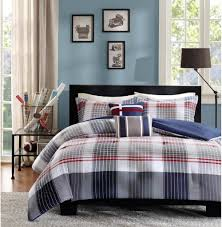 amazon com contemporary plaid comforter set full queen bed