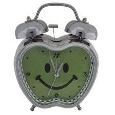 apple shaped analog alarm clock quartz retro bedside room decor