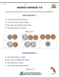 math money worksheets 1st grade money riddles