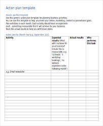 project action plan template action plan template in ms word