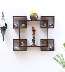 wall shelves pepperfry buy solid wood hand made decorative wall shelf in provincial teak