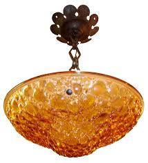 Yellow Glass Ceiling Light Small French Art Deco Peach Glass Ceiling Light Modernism