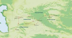 Bishkek Map Itinerary Route Of The Caravans The Four Stans Of Central Asia