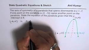 write quadratic equation and sketch parabola for given axis and y