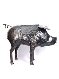 recycled metal pig lifesize recycled metal sculptures handmade