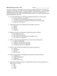 myp biology genetics exam zygosity dominance genetics