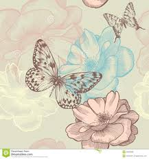 Roses And Butterflies - seamless floral pattern with roses and butterflies royalty free