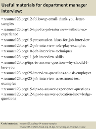Retail Department Manager Resume Top 8 Department Manager Resume Samples