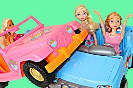 blue barbie jeep frozen car accident elsa u0026 anna car crash with barbie closet