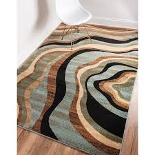 Green And Brown Area Rugs Nirvana Waves Multi Abstract Geometric Blue Beige Ivory Brown