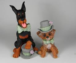 doberman and yorkie holy muttrimony wedding cake toppers dogs