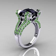 green wedding rings vintage 14k white gold 3 0 ct black green topaz