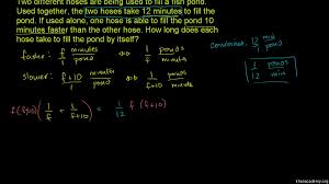 Working Backwards Problem Solving Worksheet Rational Equations Word Problem Combined Rates Example 2 Video