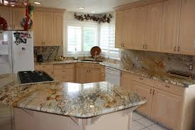 Granite Kitchen With Large Island And Full Granite Backsplash - Granite backsplash