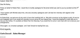 stoke park hotel wedding planner sends snobby email about wrong