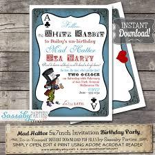 mad hatter tea party invitation alice in wonderland